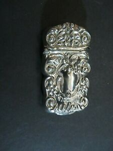 Antique G Silver Match Safe Vesta Repousse 1900 S