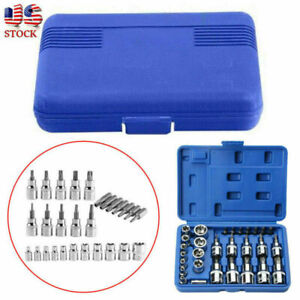 29pcs Torx Star Socket Set Bit Male Female E T Sockets With Torx Bit Tool Us