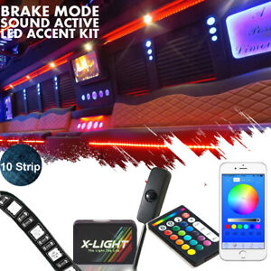 90 Smd Led Neon Interior Lighting Strip Kit For Rv limo party Bus W music Active