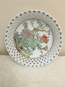 Antique Asian Multi Color Hand Painted Chinese Bowl Floral Birds Signed