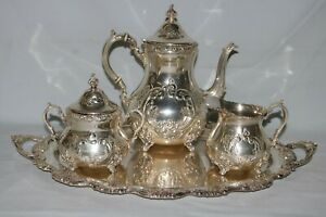 Old English Hand Chased Sterling By Poole 700 3pc Coffee Set W 702 Service Tray
