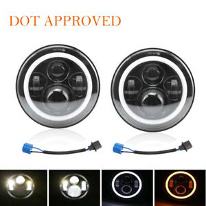 Dot Approved 7 Round Led Halo Headlight Hi Low Beam For Jeep Wrangler Jk Tj Cj