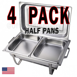 Inserts Only 4 Pack 2 1 2 Deep Stainless Steel Chafing Dish Chafer Pan Half Pan