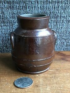 Estate Vintage French Miniature Salt Glazed Brown Confit Pottery Crock Depose