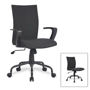 Ergonomic Computer Desk Task Chair Mid Back Swivel Office Chair With Arms Black