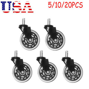 5 20 pack Roller Office Desk Chair Twin wheel Casters 3 Stem Replacement Wheels