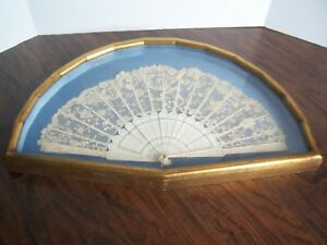 Antique Point De Gaze Brussels Lace Fan Carved Handle French Handmade Victorian