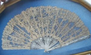 Antique Brussels Point De Gaze Lace Fan Carved Mother Of Pearl French Handmade