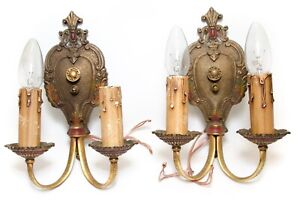 Pair Of Ornate Cast Brass Two Arms Electric Wall Fixture Sconces Antique Vintage