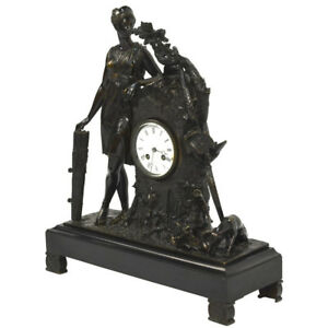 Exquisite Antique French Bronze Figural Clock Diana Goddess Of The Hunt