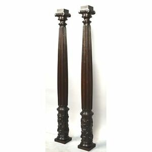 Large Pair Antique Angels Carved Walnut French Renaissance Style Columns Pillars