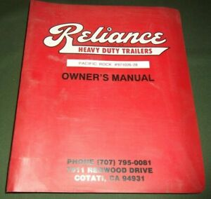 Reliance Heavy Duty Trailers Operator Operation Maintenance Manual Book