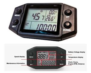 Digital Lcd Speedometer Hour Meter Gauge Rpm Odometer Clock Atv Boat Engine 12v