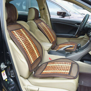 1x Universal Brown Bamboo Car Seat Cover Cool Cushion Back Support Waist Massage