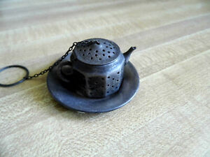 Antique Sterling Amcraft Teapot Tea Strainer Infuser And Underplate