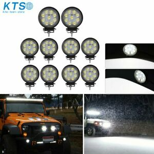 10x 4inch 27w Round Led Work Lights Pod Spot Beam Offroad Fog Driving Light 12v
