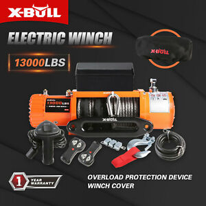 X bull 13000lbs Electric Winch Synthetic Rope Jeep Trailer Towing Ip67 Truck 4wd