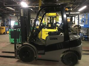 2013 Clark 5000 Lb Solid Pneumatic Forklift With Side Shift And Triple Mast
