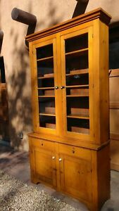 Tall 19th Century Pine Wood Step Back Cupboard Hutch Cabinet 4 Doors 2 Drawers