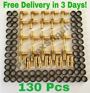 130 Pcs 1 2 Pex Crimp Fittings With Copper Crimp Rings Brass Pex Fittings