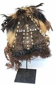 Fine Antique Woven Fabric African Kuba Mukyeem Shells Burlap Helmet Mask Used