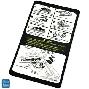 1976 1978 Firebird Trans Am Jack Instruction Decal With Space Dt0053 Ea