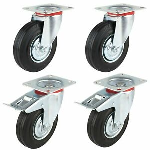 4 Pack 5 Swivel Caster Wheels Dust Cover Rubber Heavy Duty Castors With 360 Deg
