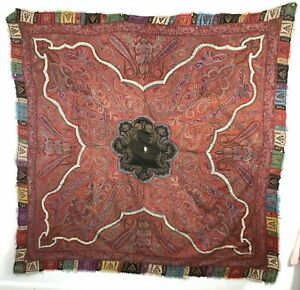 19th Century Antique Kashmir Paisley Shawl Kani 80 X 80