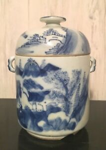 Antique Chinese Ming Qing Dynasty Blue White Porcelain Lidded Tea Cup Jar