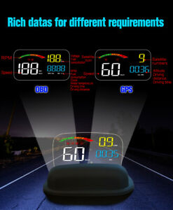 Head Up Display C800 2 In 1 Hd Obd2 Car Hud Speed Projector Gps Speedometer New