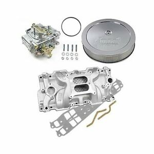 Sbc Chevy 350 Weiand 8150 Intake Holley 600 Cfm Carb Air Cleaner Combo