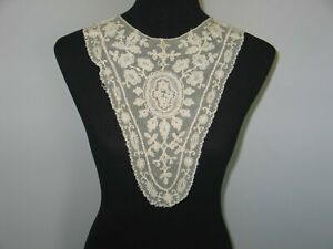Antique Lace Collar Embroidered French Needle Lace Ornate Floral Bertha Collar