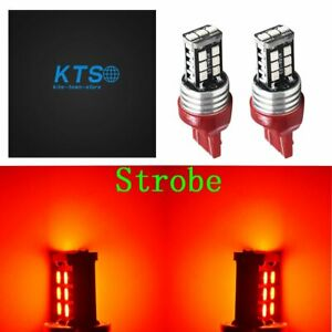 7443 Red Led Strobe Flash Blinking Brake Tail Light Parking Bulbs Us