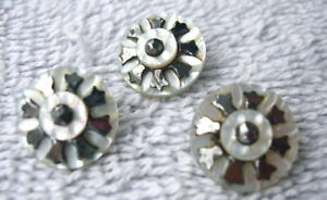 3 Antique Mother Of Pearl Buttons With Cut Steel Accents Lot 23