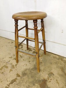 Vintage Antique Pre 1950 Wood Stool 24 5 W Metal Wiring Support