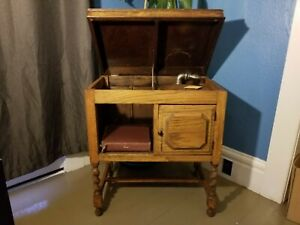Gramophone Record Player Antique Case Oak Cabinet And Records