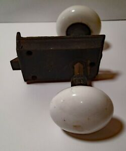 Vintage White Porcelain Door Knobs With Striker Plate