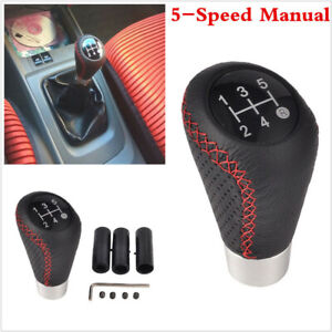 5 Speed Black Red Leather Aluminum Manual Car Gear Shift Knob Shifter Lever Us