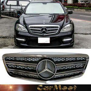 For Benz 10 13 W221 S Sedan C C Look Front Frame Grille Chrome Gloss Black Color