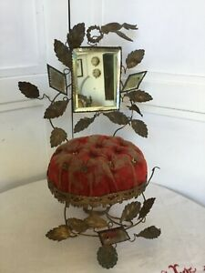 Antique French Marriage Stand 1880s Gilt Metal Flowers Red Velvet Cushion Mirror