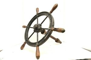Vintage Antique 20 6 Spoke Wood And Iron Ship S Wheel Boat Nautical Salvage