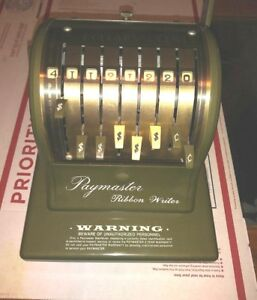 Paymaster Ribbon Writer 8000 Series Check Money Order Protector W key Excel Cond
