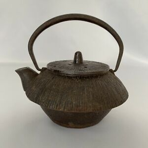 Tetsubin Tea Kettle Pot Japanese Antique Small Old Nambu Tekki Ume Brush Iron