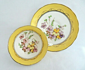 Vintage England Yellow Floral Bone China Cup And Saucer
