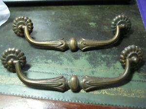 2 Antique Vintage Drawer Pull Handles Highly Detailed English French Empire