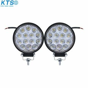 2x 4 Inch 42w Led Flood Round Work Light Offroad Truck Car Suv Atv Driving Lamp