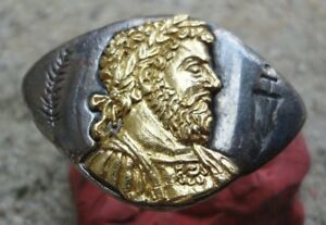 Antique Ancient Roman Gold Silver Ring Emperor Marcus Aurelius Very Fine Amazing