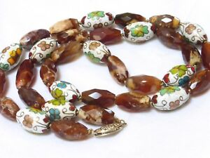 Vintage Chinese Cloisonne Agate Bead Necklace Sterling Clasp