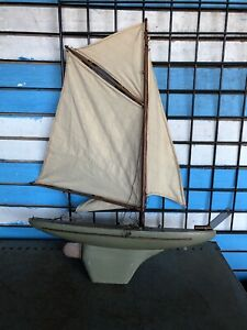Antique Vintage Toy Model Wooden Pond Yacht Sail Boat Sailboat Ship 22 L28 H