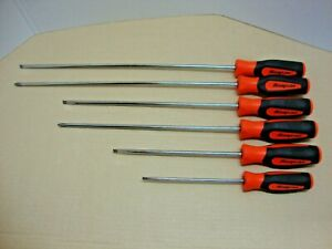 Snap on Tools 6 piece Cabinet Screwdriver Set Phillips Flat Soft Grip Orange